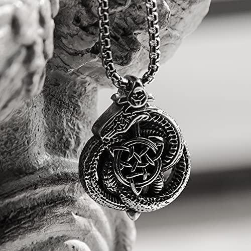 Hombre 316L Acero Inoxidable Vikingo Dragón Nórdico Serpiente Celta Nudo Runas Collar de Amuleto, Colgante Punk Medieval Joyería Colgante Pagana