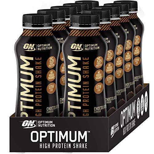 Optimum Nutrition High Protein Shake, Batidos de Proteinas para Aumentar Masa Muscular, Paquete de 10 Batidos, Chocolate, 10x500ml