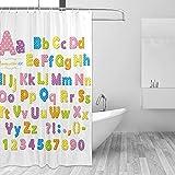 ABC Duschvorhang, Bildungsdesign, mit Haken, wasserdicht, 167 x 183 cm (B x H)