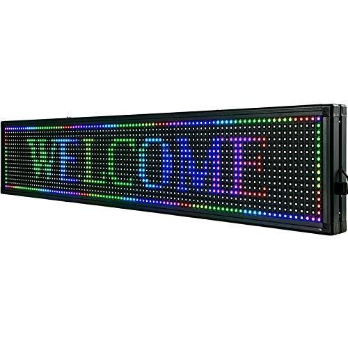 Letrero de Desplazamiento LED 101 x 20 x 5cm Letrero LED Rectangular LED Desplazamiento Publicitario 7 Colores para Publicidad y Negocios