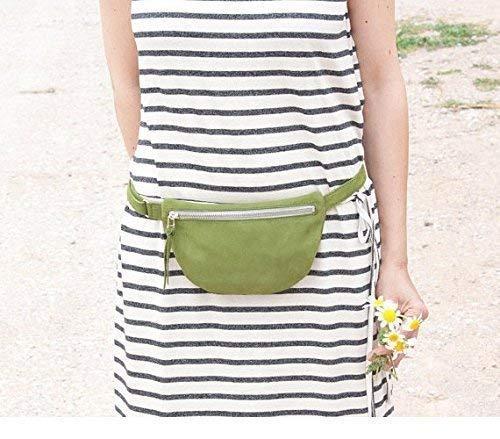 Riñonera pequeña de cuero verde, riñonera viaje mujer, bolso de cadera mujer, riñonera minimalista, riñonera cuero mini