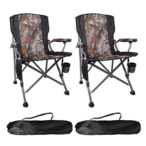 Boshen 2 Pack Support 400Ibs Portable Folding Camping Chairs for Adults Heavy Duty Picnic Fishing Beach Ergonomic Chair with Cup Holder & Storage Pocket, Carry Bag Included - Camo