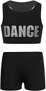 Agoky Ropa Deportiva para Niñas Crop Top Pantalones Cortos Ropa Conjunto de Gimnasia Fitness Gym Correr Yoga para Niñas 5-...