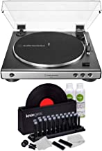 Audio-Technica AT-LP60X Fully Automatic Belt-Drive Stereo Turntable (Gunmetal) with Knox Gear Vinyl Record Cleaner Kit Bundle (2 Items)(
