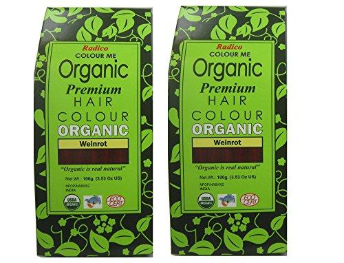 Radico Weinrot 2er-Pack Colour Me Organic Pflanzenhaarfarbe (bio, vegan, Naturkosmetik) weinrotx2
