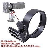 iShoot - Anillo de trípode para Nikon AF-S NIKKOR de 80 a 400 mm F/4,5-5,6G ED VR Teleobjetivo Zoom, ajuste Arca-Swiss integrado, placa de liberación rápida de 65 mm con agujero de tornillo 1/4 y 3/8
