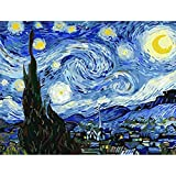Paint by Numbers for Adults, Sip and Paint Party Supplies Adults Kit with Authentic Wooden Paint Brushes & Rolled Canvas. Create Your Masterpiece! Starry Night Van Gogh (Size: 16' x 20')