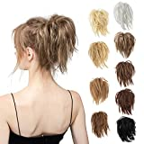 Messy Bun Hair Piece, CJL HAIR Tousled Updo Extensions With Elastic Rubber Band Hairpiece Synthetic Hair Extensions Scrunchies Hairpieces for Women Girls(Black Brown)