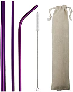 JANKNG 3 Pieces 304 Stainless Steel Metal Straws Set, 8.5 Inch Extra Wide Milkshake Bubble Reusable Drinking Straws for 20oz Tumblers Yeti Rumblers Cold Beverage, Purple