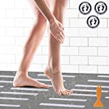 24 Tiras Antideslizantes Bañera 3 Atención Antideslizantes Pegatinas Adhesivos Ducha y Bañera Tiras de Seguridad Cinta Antideslizante Almohadillas Antideslizantes para Baño y Escaleras con Raspador