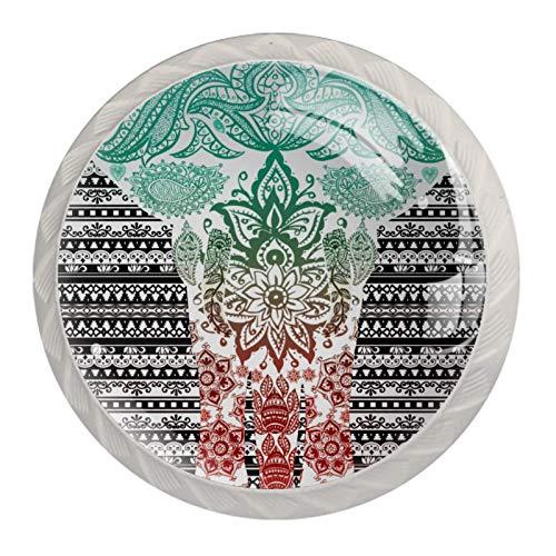 Manopole per cassetti e cassetti, con pomelli in cristallo e viti, per armadietti, casa, ufficio, credenze, mandala, acquerello, elefante, etnico 35 mm
