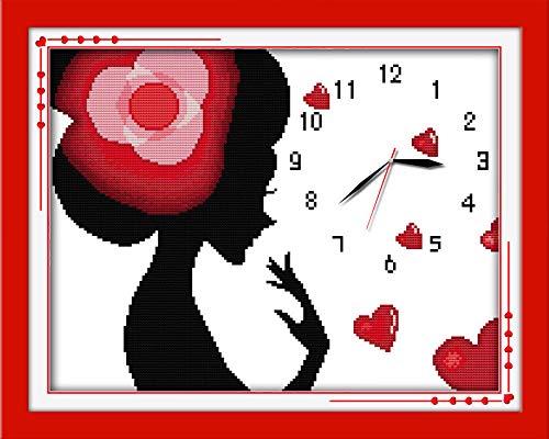 Kit de punto de cruz de mujer glamour 11CT 40x50cm lienzo de impresión de conteo reloj de pared costura bordado DIY hecho a mano costura
