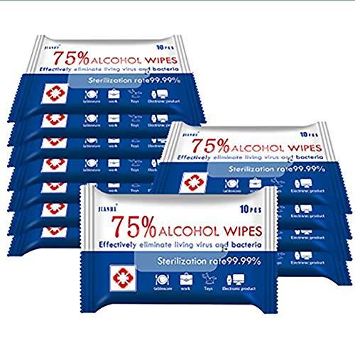 Alkohol-Reinigungstücher, 75 % Alkohol, große Feuchttücher, Reisetücher für Allzweckreinigung (10 Stück)