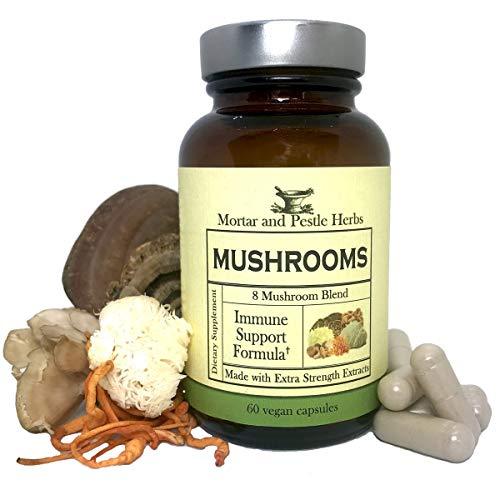 Herbal Roots - Mushroom Capsules - 8 Species - Turkey Tail, Maitake, Shiitake, Cordyceps, Snow, Lion's Mane, Reishi, Chaga, Wellness and Immune Blend, Non-GMO, 60 Vegan Capsules