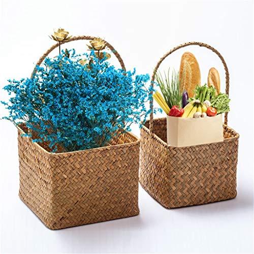 AngYou 1 Cesta de Flores de Mango de Algas, Decoración de Plantas en Maceta de jardín Tejido a Mano Cuadrado, Canasta de Almacenamiento con mango-15 * 15 * 29 cm (Color : Orange, Size : Medium)
