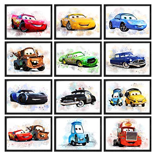 Print A To Z - Cars Movie Watercolor Wall Art Decor Prints, Lightning McQueen Poster, Unframed Set of 12 (8x10 inches), Disney Cars Posters for Boys Room, Cars Movie Kids Playroom Decor,