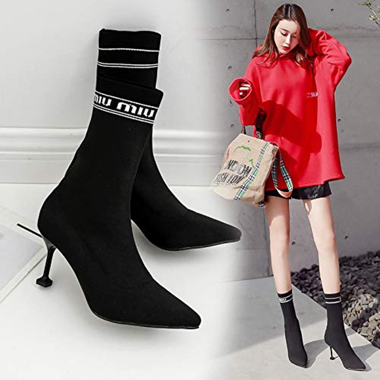 HOESCZS Wouomo sautope Autumn e Winter nuovo Wouomo stivali Pointed Stiletto in The Tube Socks Knitted Elastic stivali Letter stivali