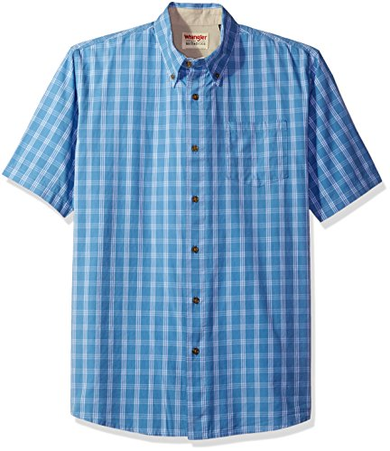 Wrangler Authentics Men's Short Sleeve Plaid Woven Shirt, Rivera, XL