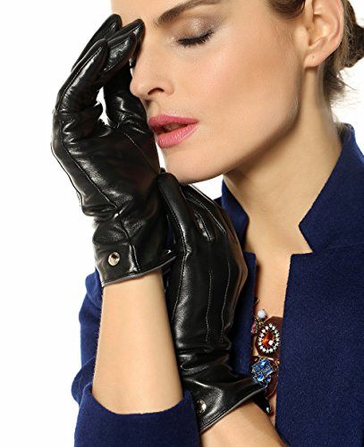 Elma Womens Touchscreen Texting Winter Driving Nappa Leather Gloves Pure Cashmere Warm Lining (6.5, Black)