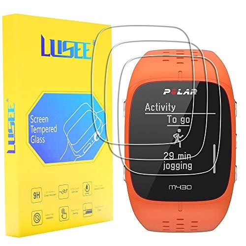 Lusee 3 Piezas Protector de Pantalla para Polar M400 / Polar M430 Cristal Vidrio Templado [Dureza 9H] [Alta Definición] Resistente a los arañazos/Anti-Huellas 2.5D Borde Curvo Protector de Pantalla
