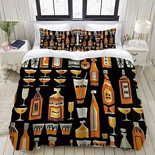 BSGDYNG - Juego de funda de edredón para cama de 3 cócteles y botella de licor, 3 piezas, juego de edredón suave, varios patrones de tamaño King 172,7 x 223,5 cm