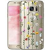 Fundas para iPhone QULT Compatible con Samsung Galaxy S7 Edge – Funda de Silicona Transparente con Lindos Motivos – Fundas iPhone Ultra Finas Flor Liana