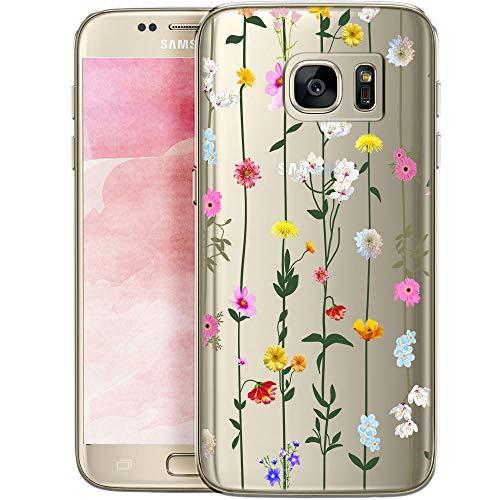 QULT Schutzhülle kompatibel mit Samsung Galaxy S7 Edge Hülle mit Motiv dünn Handyhülle Silikon Transparent Slim Bumper mit Muster Blume Liane