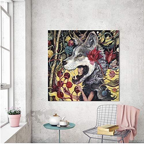 SDFSD Kreative Werwolf Märchen Wandkunst Malerei Leinwanddruck Frau Figur Bild Sie Wolf Für Wohnzimmer Wohnkultur 50 * 50cm