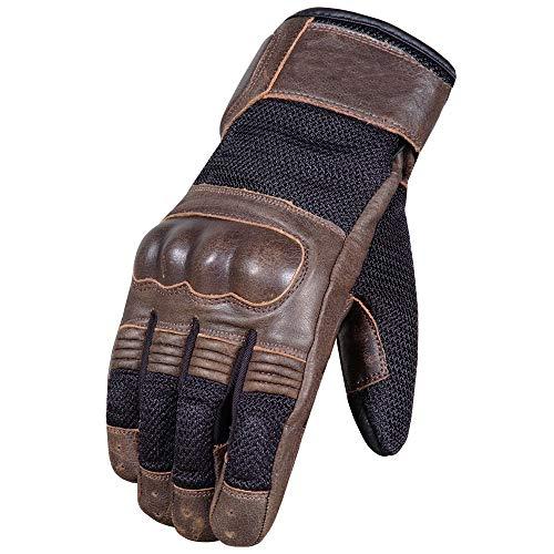 Men's Cafe Racer Cruiser Motorcycle Biker Leather Mesh Gloves XL