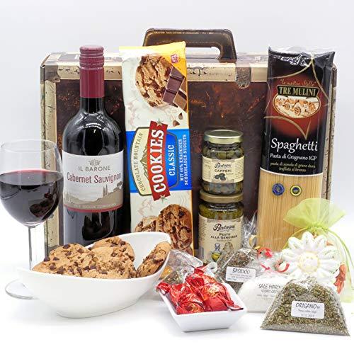 Geschenkset Italien 02 | Italienischer Geschenkkorb gefüllt mit Delikatessen und Cabernet Sauvignon (1x0.75l) Geschenk Set Feinkost