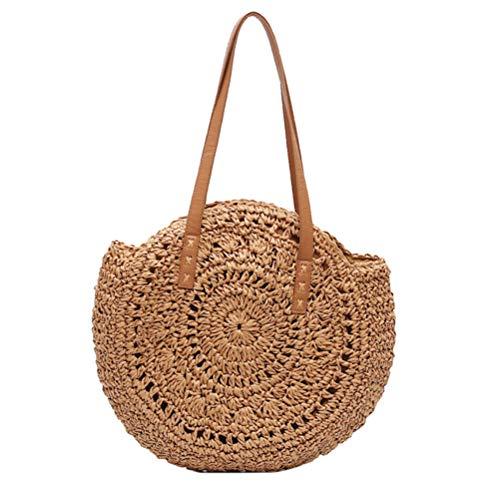 Mimiga Rattan Tasche Handarbeit Schultertasche Creative Strohtasche Runde Sommertasche Einkaufstasche Für Reisen Und Den Täglichen Gebrauch Handtasche