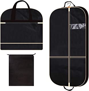 """43"""" Gusseted Garment Bag with 2 Large Mesh Pockets Travel Storage for Clothes Shirts Dresses Coats, Breathable Foldable Suit Cover Hanging Bags for Men and Women, Black"""