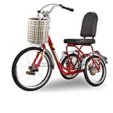 FGVDJ Triciclo para Adultos de 3 Ruedas con Pedal, con Cesta extraíble, Triciclo con Ruedas de 20 Pulgadas para Personas Mayores, Hombres y Mujeres, recreación y Compras
