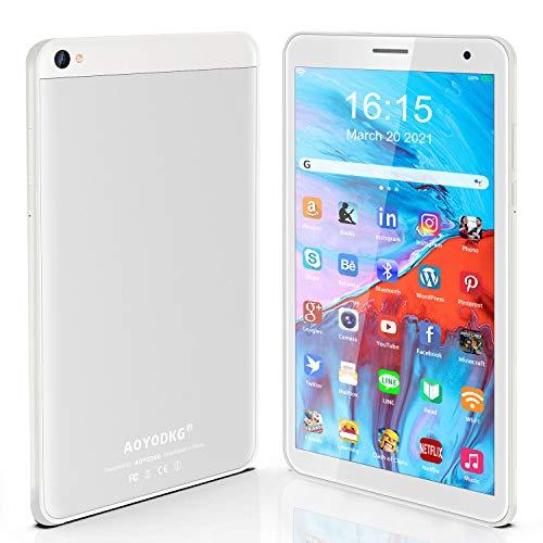 Tablet 8 Pulgadas Android 10 IPS Ultrar-Rápido Tablets HD 1280 * 800 Quad Core 3GB RAM 32GB/128GB ROM WiFi 5000mAh Bluetooth 4.2-Certificación Google GMS (Blanco)