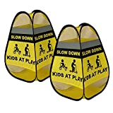Emerson West Kids at Play Safety Signs - 2 Pack - Collapsible 4-Sided Design, Easily Weighted - Bright Yellow High Visibility Slow Down Signs for Street, Neighborhood, Travel