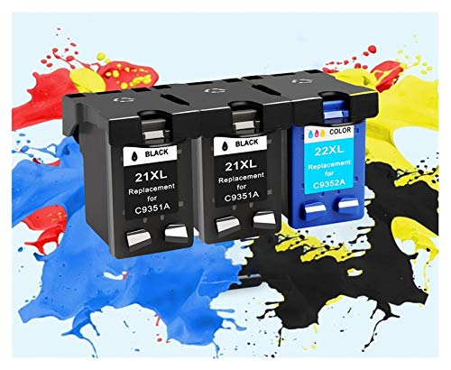 TZZD Sustitución de Cartuchos de Cartuchos de Tinta HP 21 aplicable for HP21 for HP Deskjet F380 21XL F2180 F2280 F4180 F4100 F2100 F2200 F300 Impresora (Color : 2bk 1color)