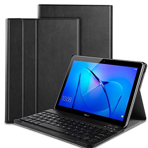 IVSO Huawei MediaPad T3 10 QWERTY Bluetooth Tastiera Portfolio - Detachable Bluetooth Copertura della Tastiera per Huawei MediaPad T3 10 Tablet, Nero
