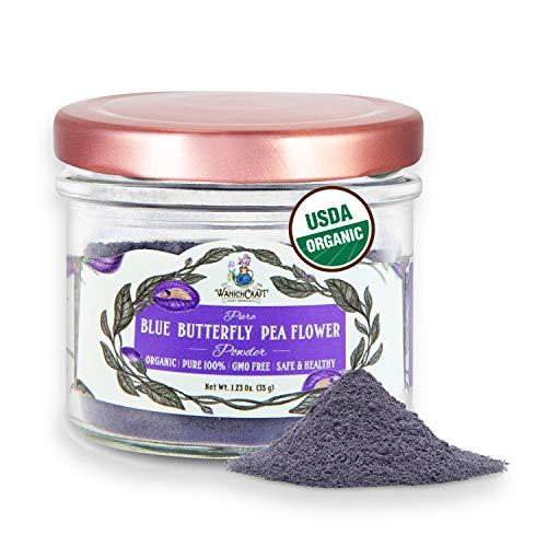 Butterfly Pea Flower Powder Blue Matcha Tea | 100% USDA Organic | CULINARY GRADE | NON GMO | Plant-Based Colors | Glass Jar | 1.23 Oz. (Powder 35g Jar) – by WanichCraft