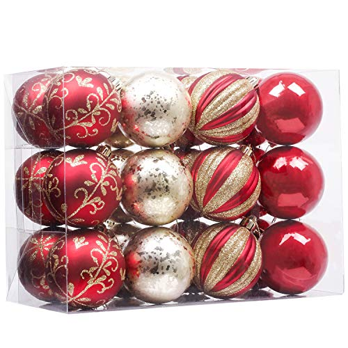 Valery Madelyn Palline di Natale 24 Pezzi 6Cm Palline di Natale in Plastica Decorazioni di Natale con Gancio Decorazioni Albero di Natale per La Decorazione Natalizia Tema Luxury Red Gold
