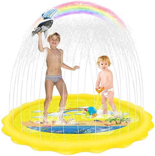 TONG 68 '' Rainbow Children's Splash Pad, Summer Outdoor Sprinkler Mat, Juguetes inflables de la Piscina de Agua de Spray Día de Verano