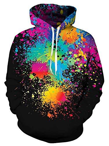 ALISISTER Unisex Hoodie Kapuzenpullover Lustig 3D Paint Splash Digitale Hoodies Lässige Party Sport Hooded Sweatshirts Outdoor Kapuzenjacke Mit Taschen Schwarz M