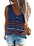 FARYSAYS Women's Fashion V Neck Knit Cami Tank Tops Plus Size Summer Casual Loose Striped Blue Camisole Top Cute Sleeveless Blouse Shirts for Women Teen Girl X-Large