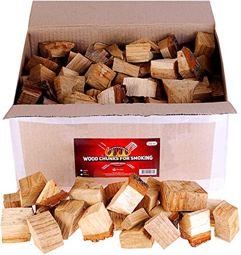 Zorestar Oak Apple Smoker Wood Chunks - BBQ Cooking Chunks for All Smokers - 15lb of Natural Wood for Smoking