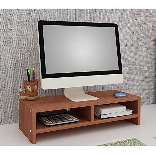 LJ Holz Monitor Ständer Computer PC Laptop TV Monitor Ständer Riser Schreibtisch Lagerung Organizer Teak 2 Ebenen,2 Tiers-B-Teak
