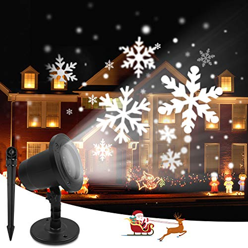 Christmas Projector Lights Outdoor Waterproof Snowflakes LED Projection Light, Indoor Outdoor Decorative Holiday Projector Light Snowfall Projector Light for Xmas Holiday Garden Party (No Remote)