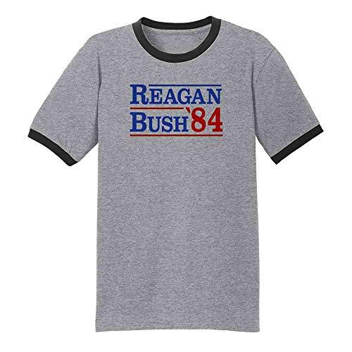 Pop Threads Ronald Reagan George Bush 1984 Campaign Grey/Black 4XL Graphic Tee Ringer T-Shirt