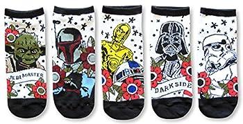 Star Wars Tattoo Inspired Art Vader Fett Yoda Juniors/Womens 5 Pack Ankle Socks Size 4-10
