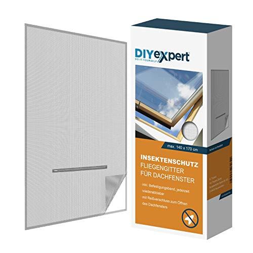 DIYexpert Fliegengitter für Dachfenster 140 x 170 cm Insektenschutz mit Reißverschluss und Klettband weiß