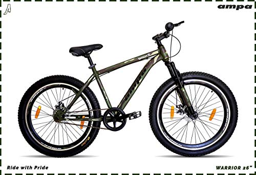 Ampa Cycle for Adults with Front Shocker and Dual Disc Brakes Semi Fat Bike for Men & Women with Triple Alloy Rims (Matte Green/Camouflage/Army Graphics) (Warrior 26)