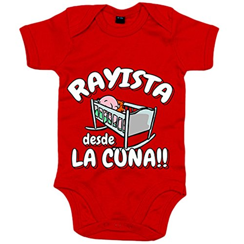 Body bebé Rayista desde la cuna Rayo Vallecano fútbol - Rojo, 6-12 meses